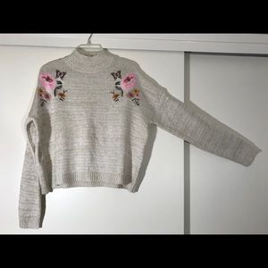 Embroidered Mock Neck Boxy Sweater